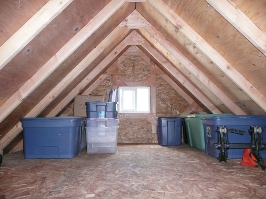 Attic capacity of our Standard Gable garage