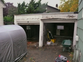 Before picture of Stanton twin garages