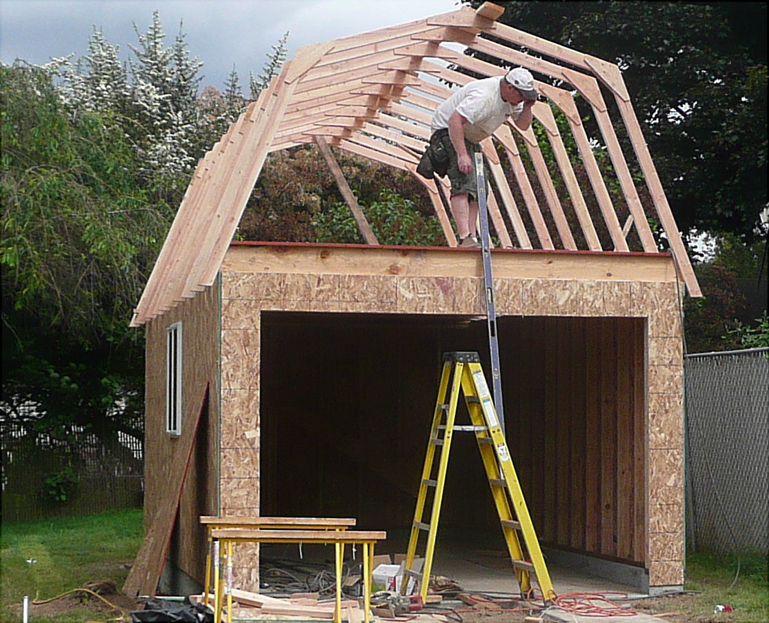 Framing our gambrel roof garage portland garage builders for Gambrel roof style