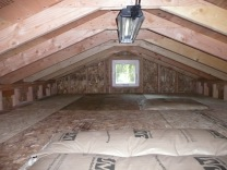 Lowered ceiling for low roof storage