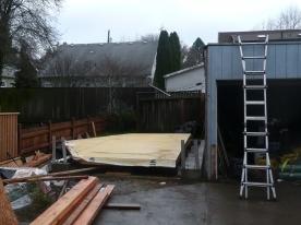 Single Twin wall ready to raise. Neighbor's garage reinforced.